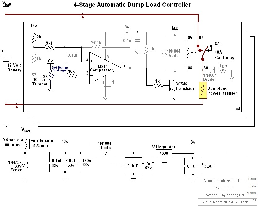 design and construction of a wind turbine dumpload charge controller, wiring diagram