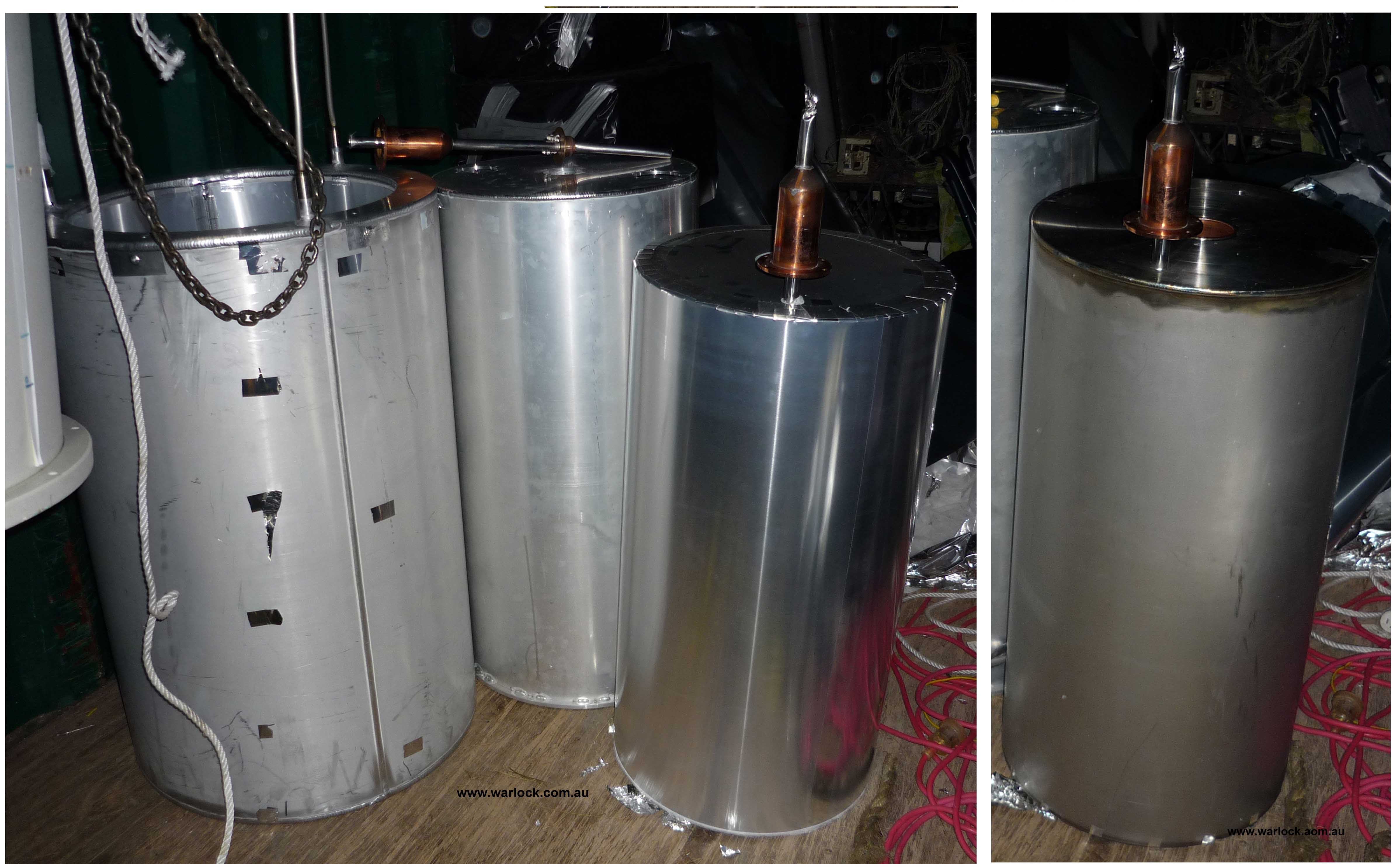 The 3 cylinders separated easily. The outside one is the 'Liquid Nitrogen Vessel' that attaches to the outermost fill tubes. The centre one is a '4 K Radiation Shield' that blocks infra-red radiation from reaching the 'Liquid Helium Vessel' on the inside.