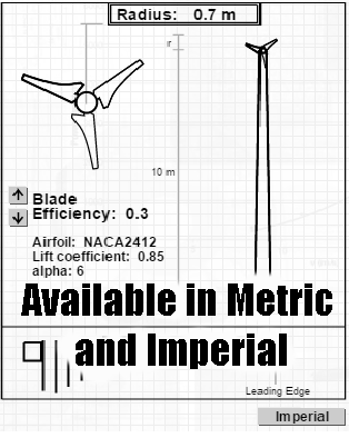Bladecalc in metric and imperial units