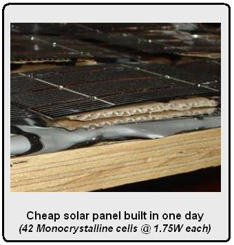 Cheap solar panel built in one day